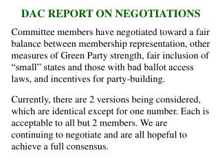 DAC REPORT ON NEGOTIATIONS