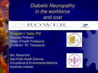 Diabetic Neuropathy  in the workforce and cost