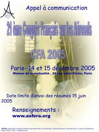 21 ème Congrés Français sur les Aérosols