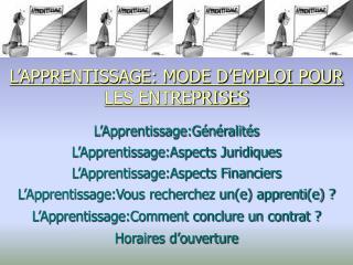 L'APPRENTISSAGE: MODE D'EMPLOI POUR LES ENTREPRISES