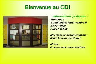 Bienvenue au CDI