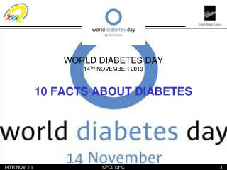 WORLD DIABETES DAY 14 TH  NOVEMBER 2013
