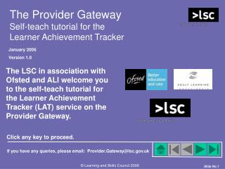 The Provider Gateway Self-teach tutorial for the Learner Achievement Tracker