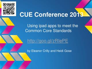 CUE Conference 2013