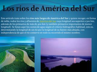 Los ríos de América del Sur