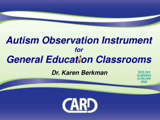 Autism Observation Instrument for General Education Classrooms