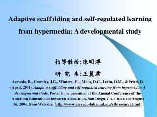 Adaptive scaffolding and self-regulated learning from hypermedia: A developmental study