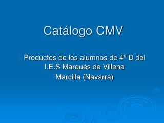 Cat�logo CMV