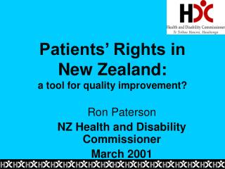 Patients  Rights in  New Zealand:                                a tool for quality improvement