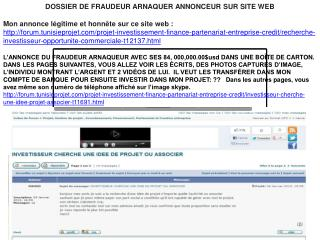 DOSSIER DE FRAUDEUR ARNAQUER ANNONCEUR SUR SITE WEB