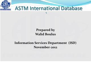 ASTM International Database  `