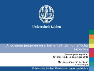 Allochtone jongeren en criminaliteit, demografische aspecten
