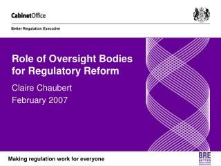 Role of Oversight Bodies for Regulatory Reform