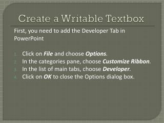 Create a Writable Textbox