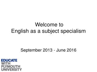 Welcome to  English as a subject specialism