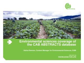 Environmental sciences coverage of the CAB ABSTRACTS database