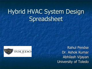 Hybrid HVAC System Design Spreadsheet