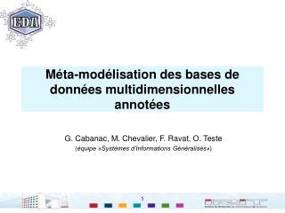 Méta-modélisation des bases de données multidimensionnelles annotées