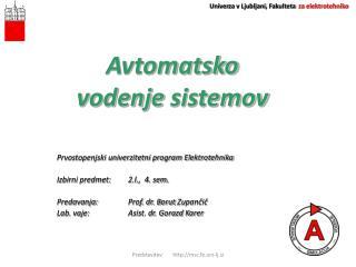 Avtomatsko  vodenje  sistemov