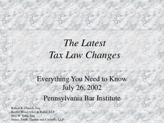 The Latest Tax Law Changes