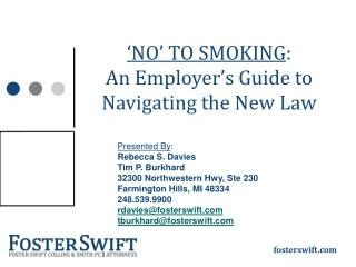�NO� TO SMOKING :  An Employer�s Guide to  Navigating the New Law