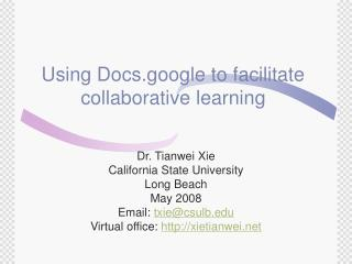 Using Docs.google to facilitate collaborative learning