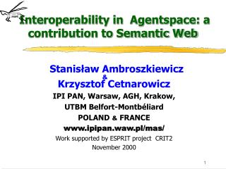 Interoperability in  Agentspace: a contribution to Semantic Web