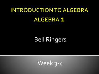 INTRODUCTION TO ALGEBRA ALGEBRA  1