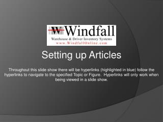 Setting up Articles