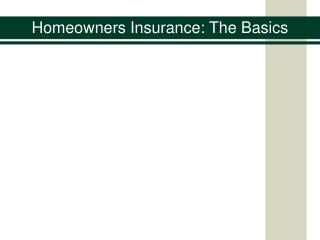 Homeowners Insurance: The Basics