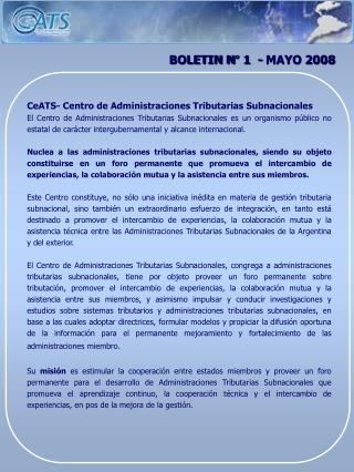 BOLETIN N° 1  - MAYO 2008