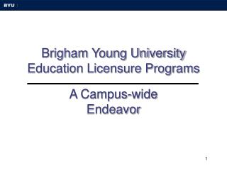 Brigham Young University Education Licensure Programs