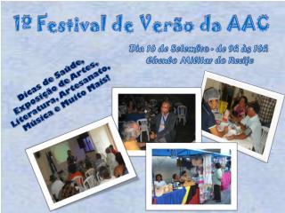 Dia 16 de  Setembro -  de 9h às  16h  Círculo Militar do Recife