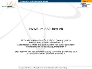 IWWB im ASP-Betrieb