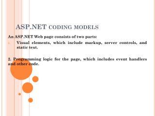 ASP.NET coding models
