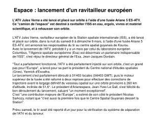 Espace : lancement d'un ravitailleur européen
