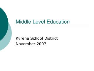 Middle Level Education