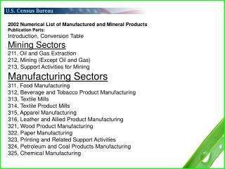 2002 Numerical List of Manufactured and Mineral Products Publication Parts:
