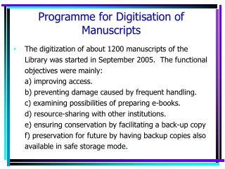 Programme for Digitisation of Manuscripts