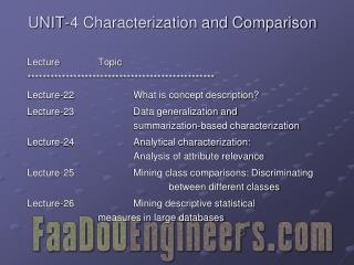 UNIT-4 Characterization and Comparison