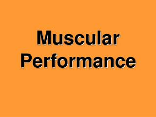 Muscular Performance