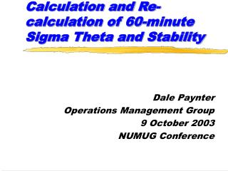 Calculation and Re-calculation of 60-minute Sigma Theta and Stability