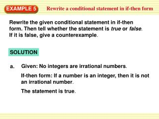 Rewrite a conditional statement in if-then form