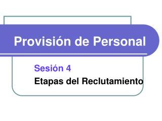 Provisión de Personal