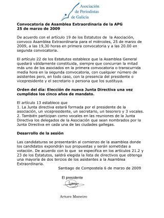 Convocatoria de Asamblea Extraordinaria de la APG 25 de marzo de 2009