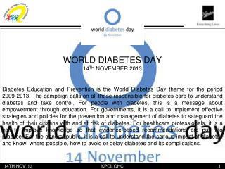 WORLD DIABETES DAY 14 TH  NOVEMBER 2013
