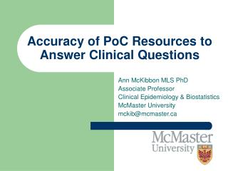Accuracy of PoC Resources to Answer Clinical Questions