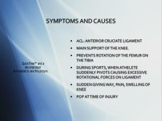SYMPTOMS AND CAUSES