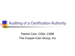 Auditing of a Certification Authority