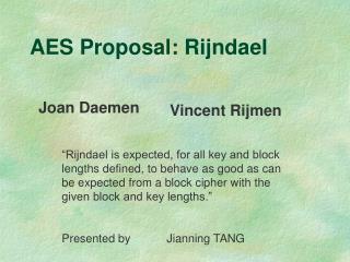 AES Proposal: Rijndael